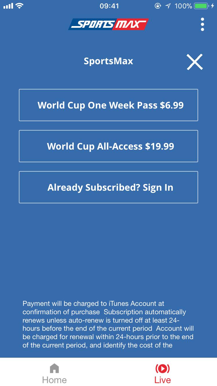 SportsMax Subscription Screen